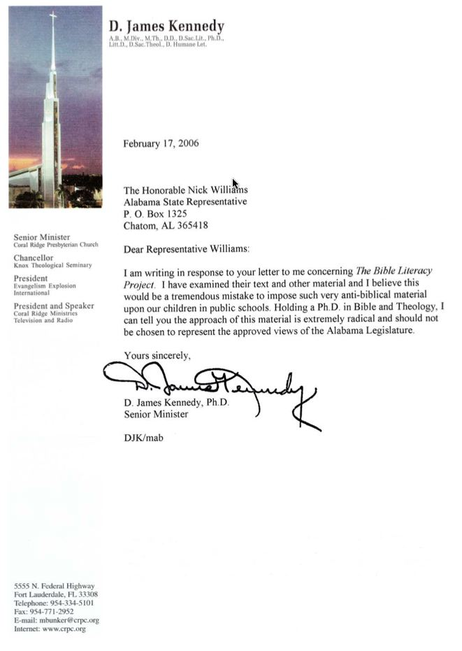 Letter from D.J. Kennedy